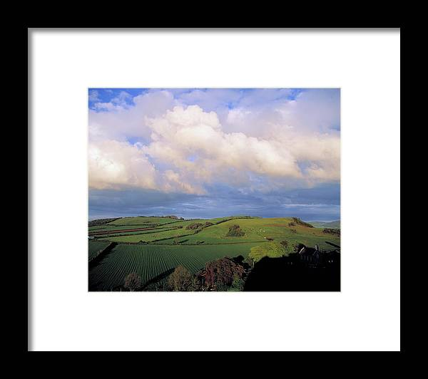 Tranquility Framed Print featuring the photograph Fields Around Dunamace, Co Laois by Design Pics