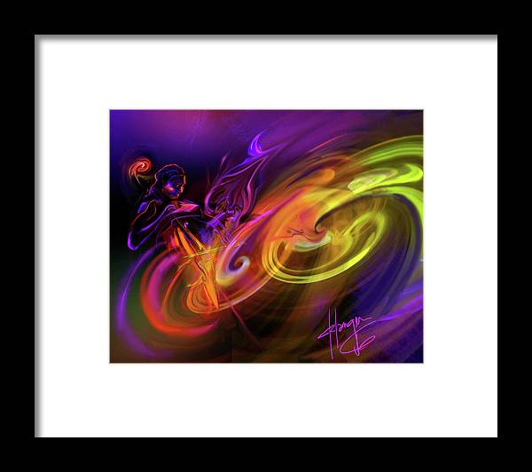 Fiona Framed Print featuring the painting Cellist In Space by DC Langer
