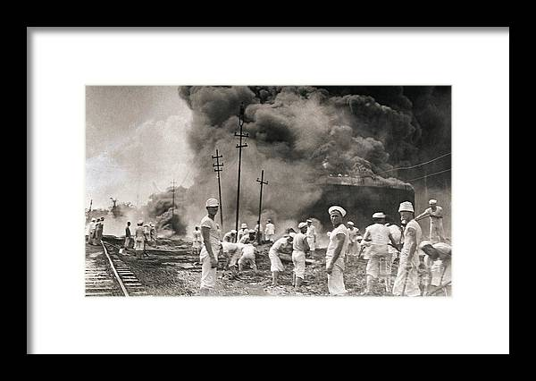 People Framed Print featuring the photograph Fire In Oil Plant In Mexico by Bettmann