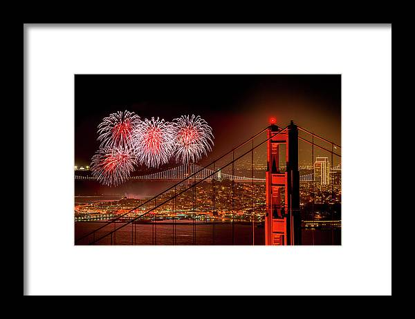 San Francisco Framed Print featuring the photograph Firework At San Francisco, California by Spondylolithesis