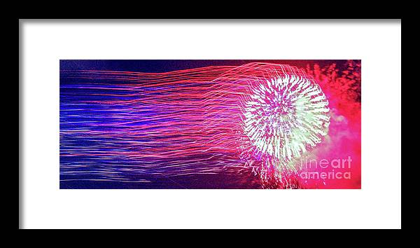 Fireworks Framed Print featuring the photograph Fireworks In Abstract 2019 by D Davila