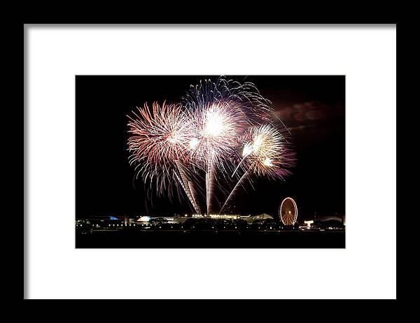 Lake Michigan Framed Print featuring the photograph Fireworks In Chicago by 400tmax