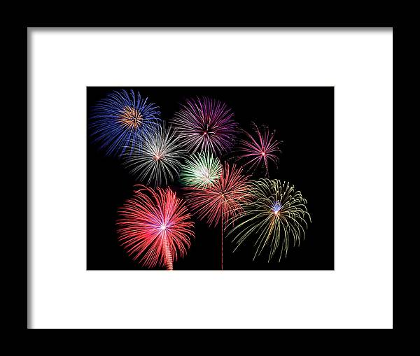 Firework Display Framed Print featuring the photograph Fireworks by Michael Parrish Photography
