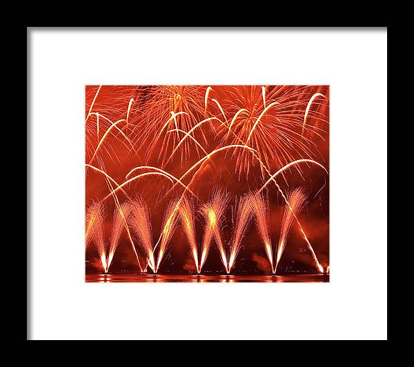Firework Display Framed Print featuring the photograph Fireworks Over West Lake, Hangzhou by William Yu Photography