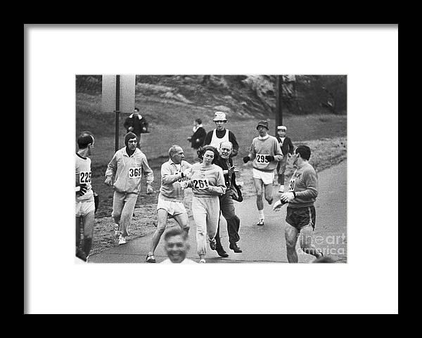 Mature Adult Framed Print featuring the photograph First Women In Boston Marathon by Bettmann