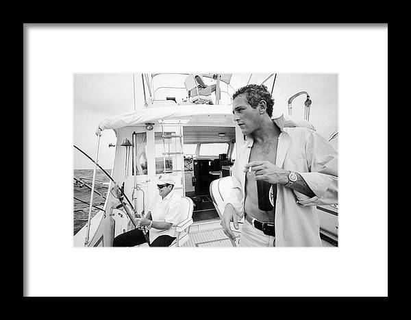 Timeincown Framed Print featuring the photograph Fishing With Paul Newman by Mark Kauffman