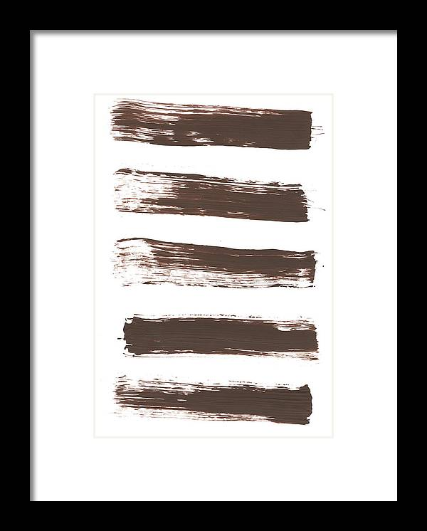 Textured Framed Print featuring the photograph Five Tan Streaks Of Paint by Kevinruss