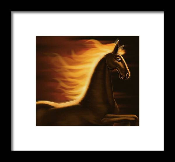 Horse Framed Print featuring the digital art Flaming Horse by Id-work