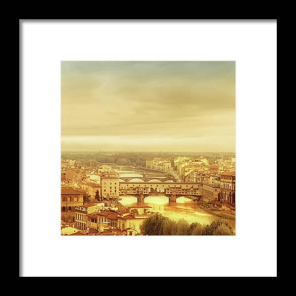 Palazzo Vecchio Framed Print featuring the photograph Florence, Ponte Vecchio by Deimagine
