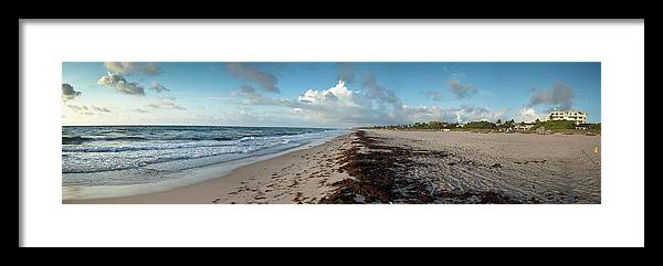 Scenics Framed Print featuring the photograph Florida Beach With Gentle Waves And by Drnadig