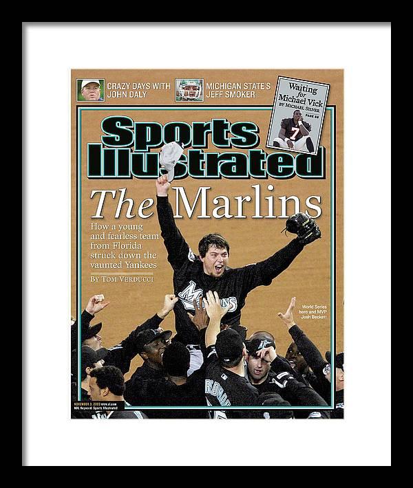 Magazine Cover Framed Print featuring the photograph Florida Marlins Josh Beckett, 2003 World Series Sports Illustrated Cover by Sports Illustrated