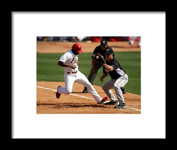 St. Louis Cardinals Framed Print featuring the photograph Florida Marlins V St. Louis Cardinals by Marc Serota