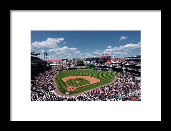National League Baseball Framed Print featuring the photograph Florida Marlins V Washington Nationals by Joe Robbins