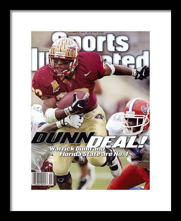 Magazine Cover Framed Print featuring the photograph Florida State University Warrick Dunn Sports Illustrated Cover by Sports Illustrated