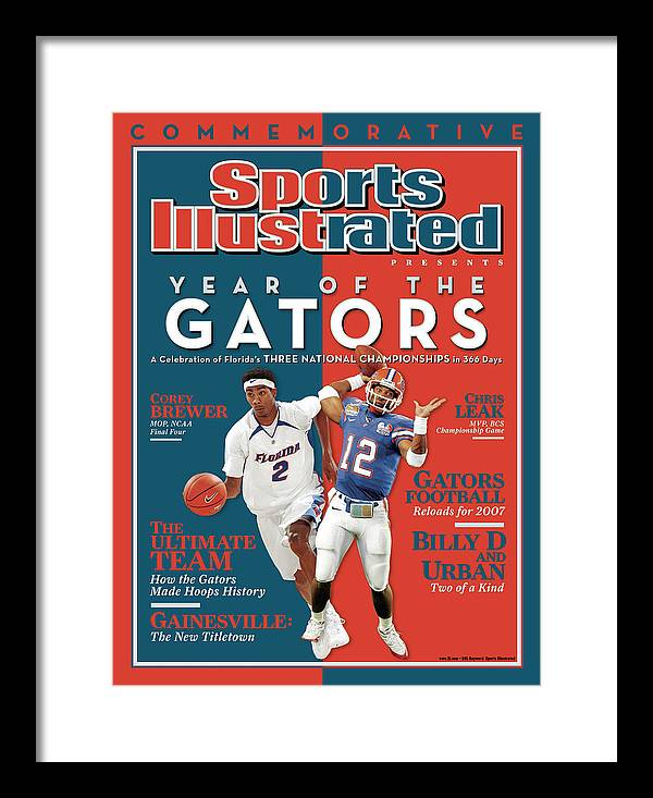 Magazine Cover Framed Print featuring the photograph Floridas Corey Brewer And Qb Chris Leak, Florida Gators Sports Illustrated Cover by Sports Illustrated