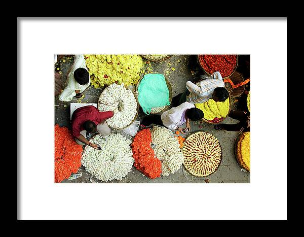 Flower Market Framed Print featuring the photograph Flower Market by Photo By Jogesh S