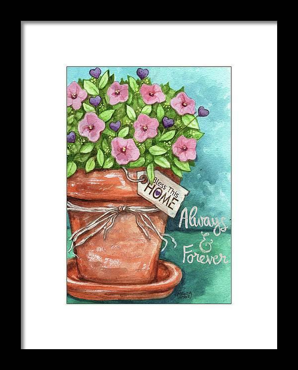 Flower Pink Bless This Home Framed Print featuring the painting Flower Pink Bless This Home by Melinda Hipsher