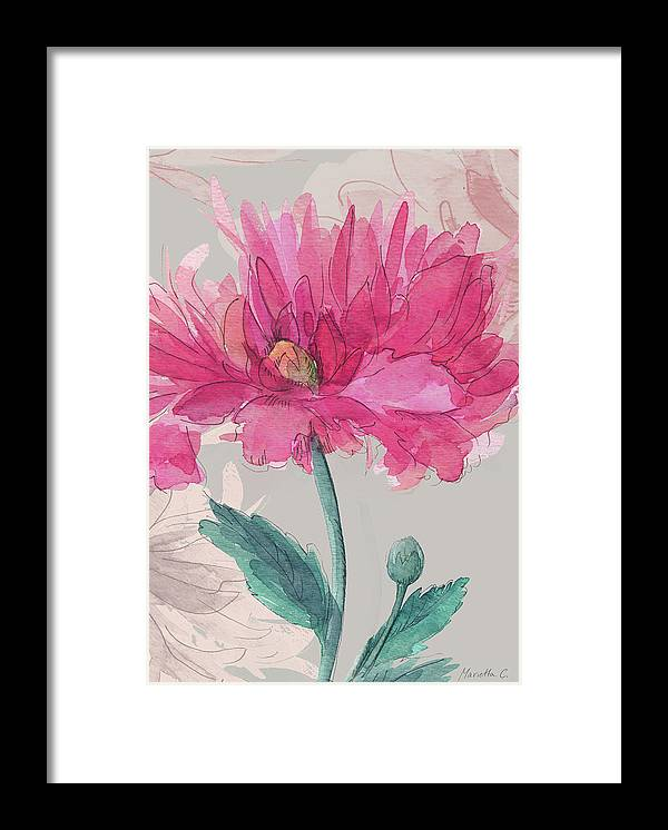 Flower Sketch 2 Framed Print featuring the mixed media Flower Sketch 2 by Marietta Cohen Art And Design