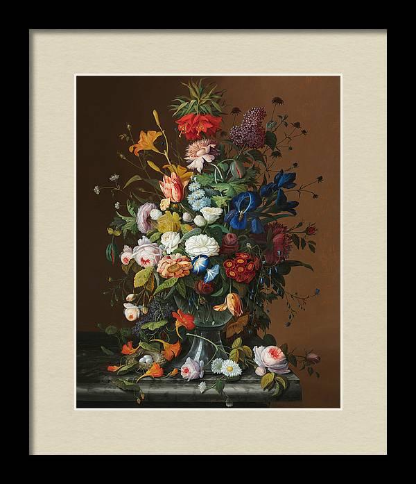 Flower Still Life with Birds Nest by Severin Roesen