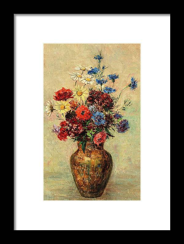 Odilon Redon Framed Print featuring the painting Flowers In A Vase, Circa 1910 by Odilon Redon