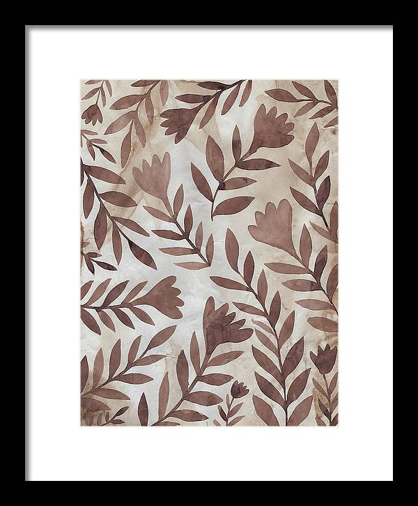 Brown Framed Print featuring the painting Flowing Flowers by Elaine Jackson