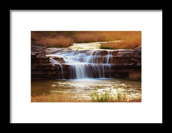 Scenics Framed Print featuring the photograph Flowing Water On The Yellow Rock by Xenotar