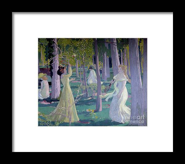 Girl Framed Print featuring the painting Flying Game, Detail, Two Women In A Garden Play A Game by Maurice Denis