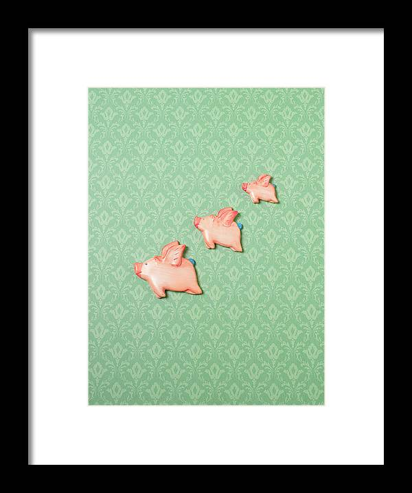 Disbelief Framed Print featuring the photograph Flying Pig Ornaments On Wallpapered by Peter Dazeley