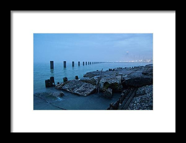 Lake Michigan Framed Print featuring the photograph Foggy View Of Chicago From Lakeshore by Megan Ahrens