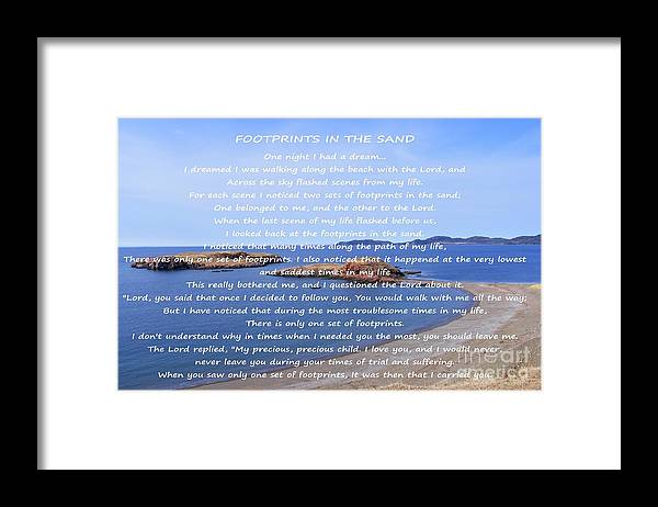 Footprints In The Sand Framed Print featuring the photograph Footprints in the Sand by Barbara Griffin