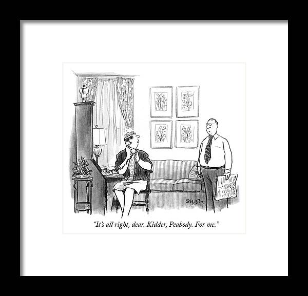 """it's All Right Framed Print featuring the drawing For me by Charles Saxon"