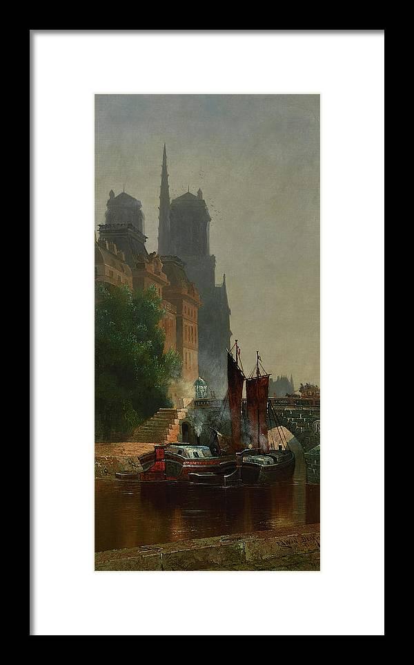 Edwin Deakin Framed Print featuring the painting For Notre Dame, Foggy Morning by Edwin Deakin