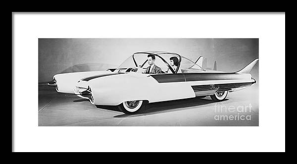 People Framed Print featuring the photograph Fords Future Experimental Car by Bettmann