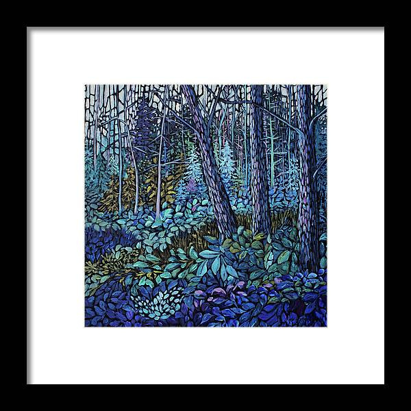 Forest Framed Print featuring the painting Forest in Colour Series 4 by Jo Smoley