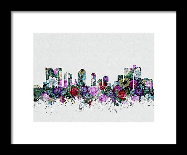 Fort Worth Framed Print featuring the digital art Fort Worth Skyline Floral 2 by Bekim M