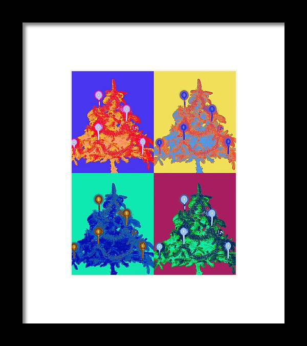 Celebration Framed Print featuring the photograph Four Christmas Trees Decorated With by Peter Weber