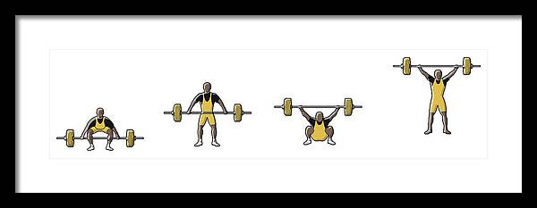 People Framed Print featuring the digital art Four Stages Of Weightlifter Lifting by Dorling Kindersley