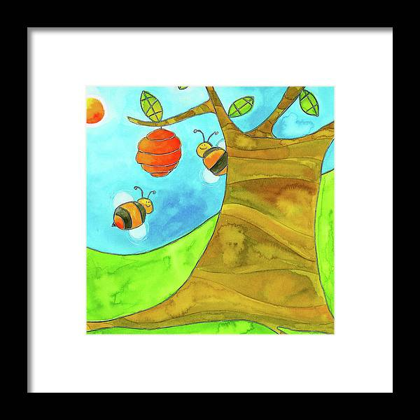 A Beehive Hanging From A Tree Framed Print featuring the mixed media Fpinf018 by Esteban Studio