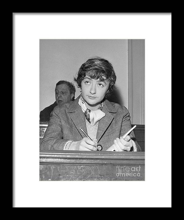 Versailles Framed Print featuring the photograph Francoise Sagan Taking Notes by Bettmann