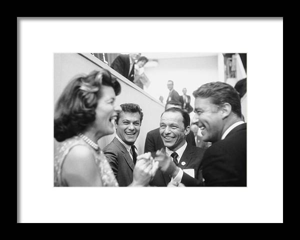 Timeincown Framed Print featuring the photograph Frank Sinatrapeter Lawford & Wifetony by Ed Clark