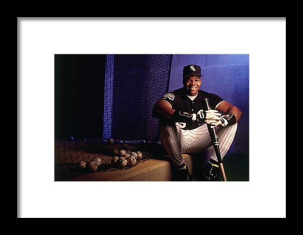 American League Baseball Framed Print featuring the photograph Frank Thomas by Ronald C. Modra/sports Imagery