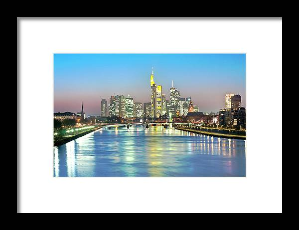 Hesse Framed Print featuring the photograph Frankfurt Night Skyline by Ixefra