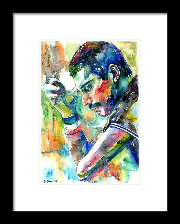 Freddie Mercury Framed Print featuring the painting Freddie Mercury With Cigarette by Suzann Sines
