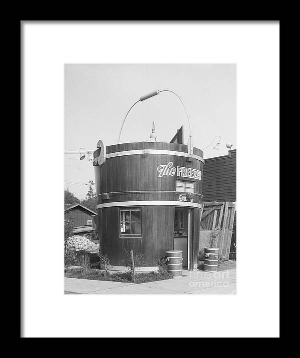 Outdoors Framed Print featuring the photograph Freezer Of Ice Cream Parlor by Bettmann