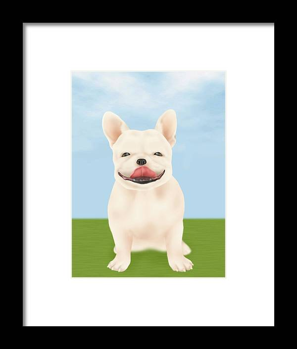 Pets Framed Print featuring the digital art French Bulldog Sitting On Green Field by Daj