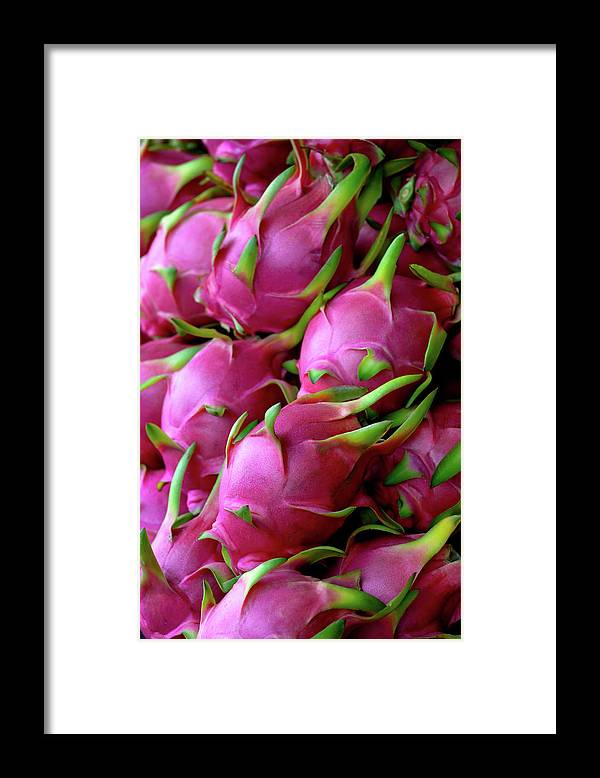 Thailand Framed Print featuring the photograph Fresh Dragon Fruit For Sale In A Thai by Enviromantic