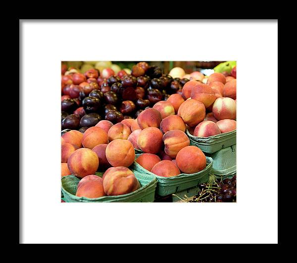 Cherry Framed Print featuring the photograph Fresh Peaches At Organic Market by Lillisphotography