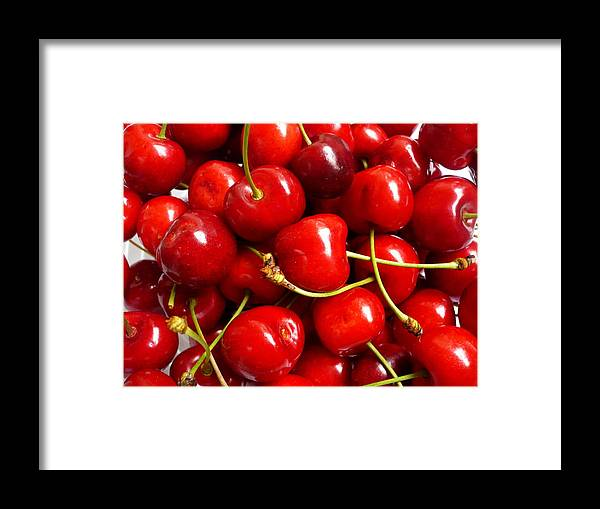 Cherry Framed Print featuring the photograph Fresh Red Cherries by Vienna Mornings