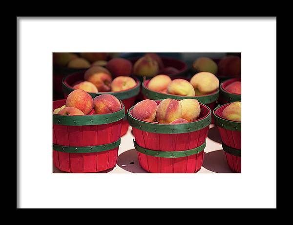 Retail Framed Print featuring the photograph Fresh Texas Peaches In Colorful Baskets by Txphotoblog - Randy Ennis