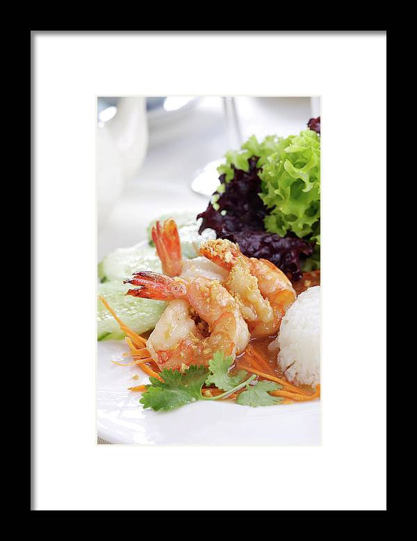 Thai Food Framed Print featuring the photograph Fried Shrimps With Garlic by Shyman